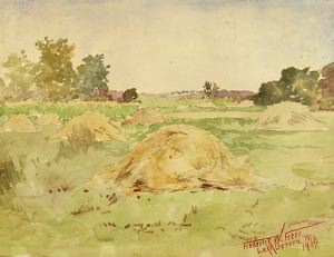 Image of Field with Haystacks