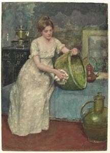 Image of Lady Cleaning Brass