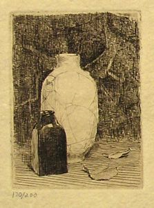 Image of Still Life with Vase and Bottle