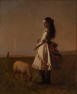 Image of Girl in Landscape with Two Lambs