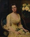 Image of Lady with Yellow Roses and Dress