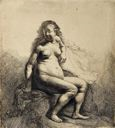 Image of Naked Woman Seated on a Mound