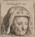Image of The Artist's Mother in a Cloth Headdress, Looking Down: Head Only