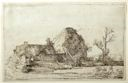 Image of Cottages with Farm Buildings with a Man Sketching